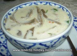 Thomka Gai soup Thai food starter Ruen Thai Restaurant  Tenerife