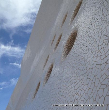 Tiled facade with mosaics by Tenerife main opera house