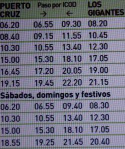 Titsa public bus 325 options Playa La Arena to Puerto de la Cruz with stops.