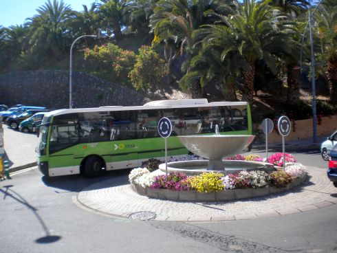 Titsa bus the Guagua captured at Los Realejos Tenerife in Avenida Canaria.