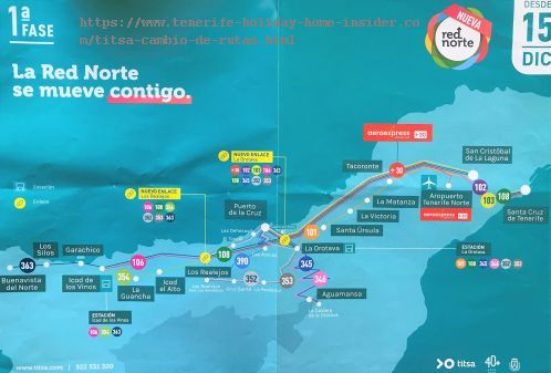 Titsa Cambio de Rutas first phase for the Red Norte the new network for Guaguas of the North of Tenerife