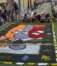 Uniting nations motive La Orotava street carpet