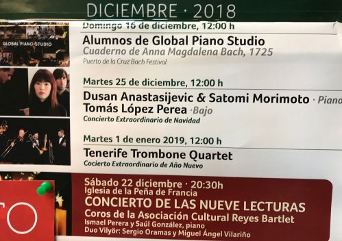 Various Puerto de la Cruz December 2018 concerts as depicted