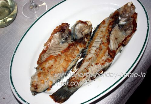 Vieja fish Parrot fish sliced into two halves.