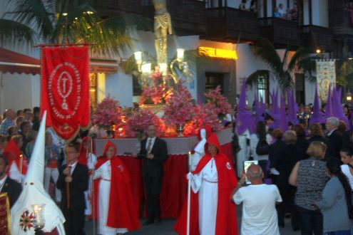 Viernes Santo depicting procession Calle Quintana Puerto de la Cruz Tenerife Spain.