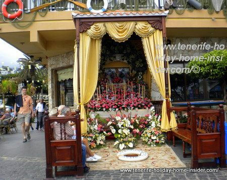 Virgen del carmen altar in the street in  Puerto Cruz