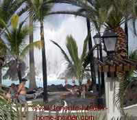 Landscape with giant waterfall from fountain at  top Tenerife attraction Spain