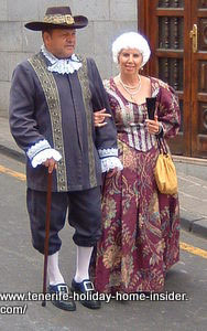 Wealthy landlords Tenerife country folks dressed traditionally.
