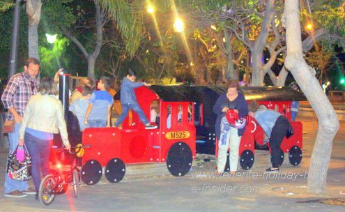 White nights celebrations under the adjoining trees of the biggest Tenerife  town square.