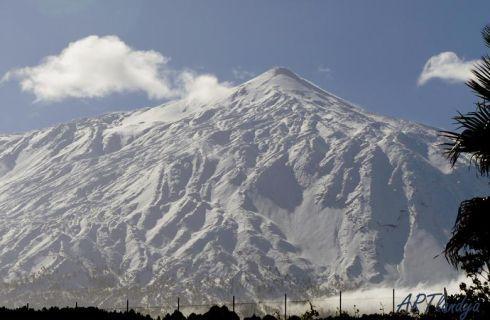 White Volcano Teide to view from Artlandya of dolls in Tenerife