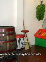 Wine barrel serving as bar table Tenerife