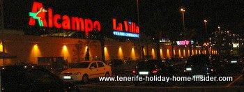 Alcampo La Villa with its long facade in La Orotava Tenerife Spain.