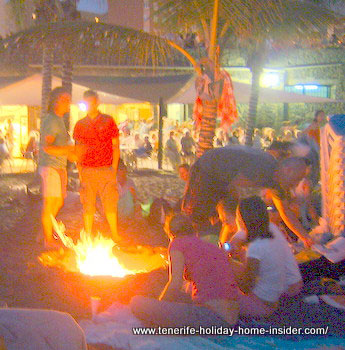 -Beach bonfire of June solstice at Playa Jardin