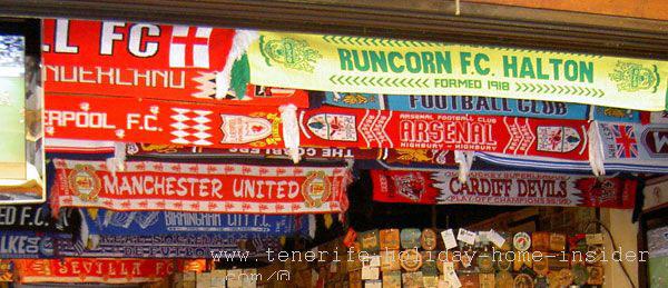 British soccer team banners  in Puerto Cruz pub