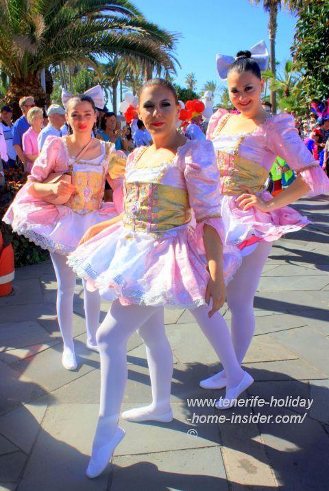 Carnival ballerinas at Martianez of Puerto Cruz.