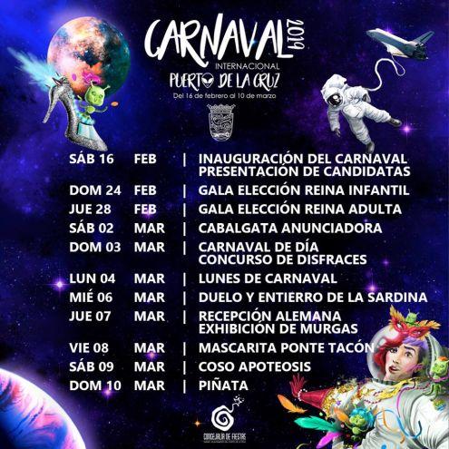 Carnival Poster 2019 Puerto de la Cruz from February 16 to March 10
