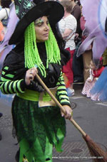 Carnival witch with broom
