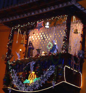 Christmas crib nativity scene with led lights in an exquisitely decorated Tenerife bay window