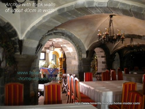 El Monasterio so called Convent Salon with its sturdy,  extremely thick walled arches.