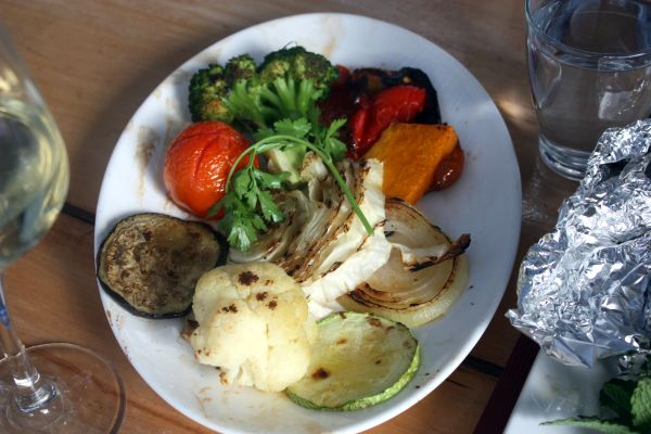 Fried farm vegetables with Red Pepper, Broccoli,Cauliflower,Pumpkin, Cabbage, Aubergine, Tomato and more.