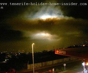 Fireworks in clouds Fiesta de la Cruz Tenerife