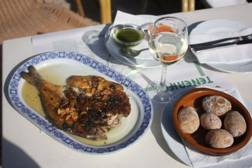 Fried Dorada fish with Papas Arrugadas and Mojo sauces, as a New Year's day special dish.
