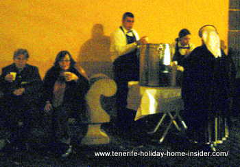Hot chocolate party by ta cathedral outside