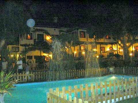 Illuminated pool within atrium of Casa Grande Abaco of Puerto de la Cruz.