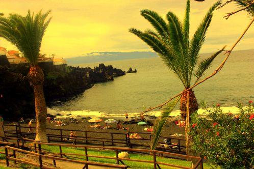 La Gomera beachfront view from La Marina promenade of the Puerto de Santiago beach resort.
