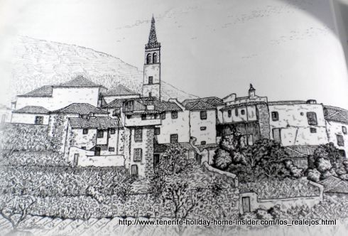 Los Realejos Tenerife historical town drawing