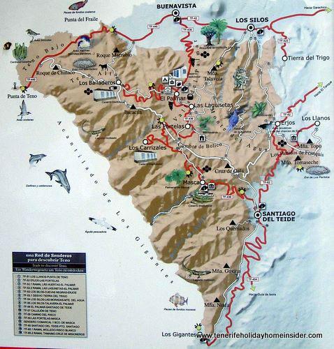 Map Buenavista Norte Teno Alto Tenerife Spain