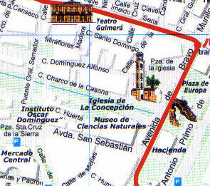 Map Central Market district of the capital of Tenerife.