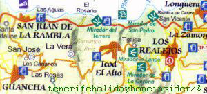 Small map of neighboring towns of San Juan de La Rambla in Tenerife Spain