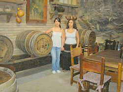 Monasterio wine cellar Bodega with tourists from Sweden.