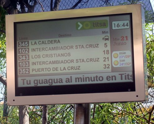 Overhead bus arrival screen computerized at Titsa bus stop Puerto de la Cruz La Paz in June 2018 as shown