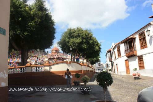 Plaza de la Luz of Los Silos seen together with charming architecture of traditional Canary Island houses.