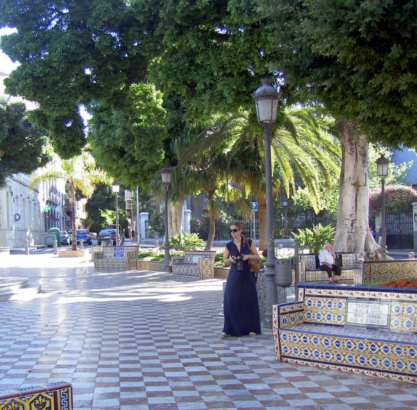Plaza de los Patos i.e. Plaza 25 de Julio with its Mozaic craft works at about 100m from the most known Rambla of Tenerife.