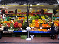 Produce display of exotic fruit and vegetable, some from Africa