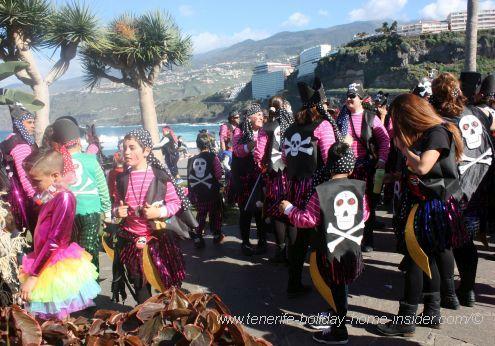 Puerto de la Cruz Carnival on exotic Costa Martianez.