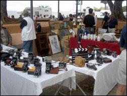 Tenerife flee market with display of antic camera equipment