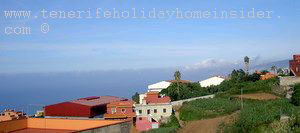 Rural view Icod el Alto village with Colegio CEO la Pared High School and the ocean.