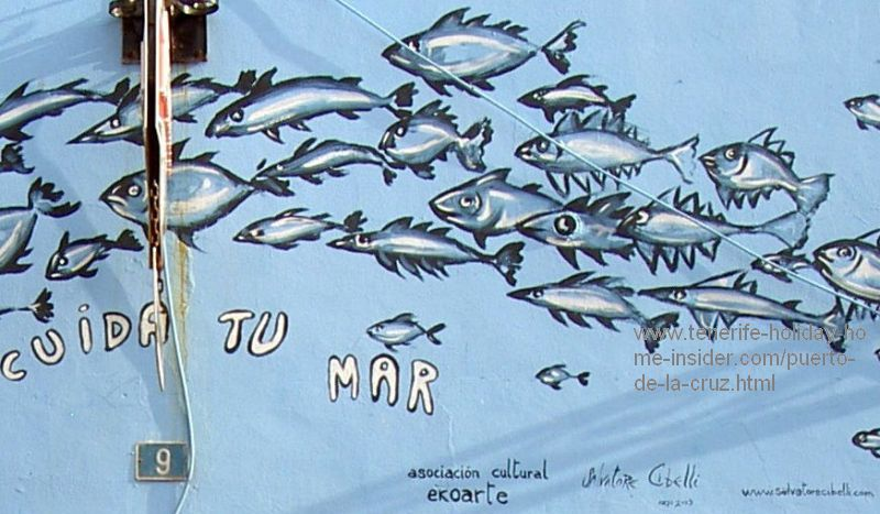 Save the ocean and the marine life mural by the environmental society of Tenerife North who has signed this street art of Punta Brava together with the artist.