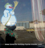 Snow fun snow man mirror reflection with  holiday poolside