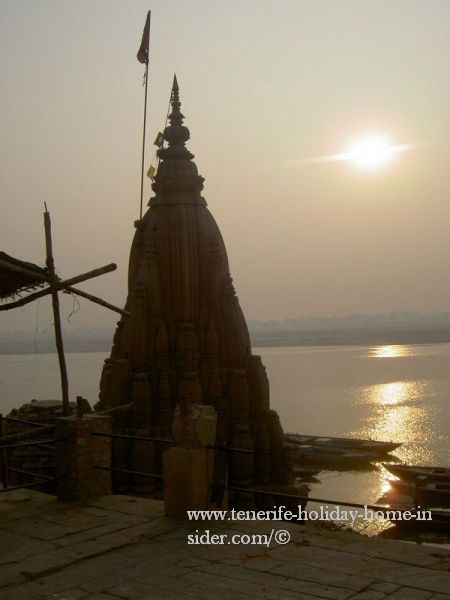 Sunrise in Asia by river Ganges in Varanasi