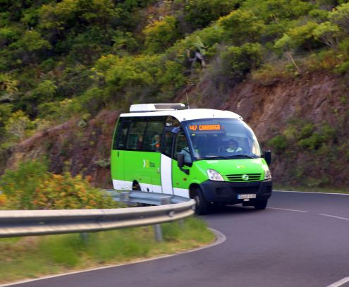 Tenerife buses' modern Titsa Guagua that even takes you to tiny hamlets like the depicted vehicle whose front reads Chamorga