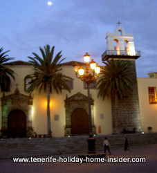 Tenerife nightlife Romantic Garachico scene with moon