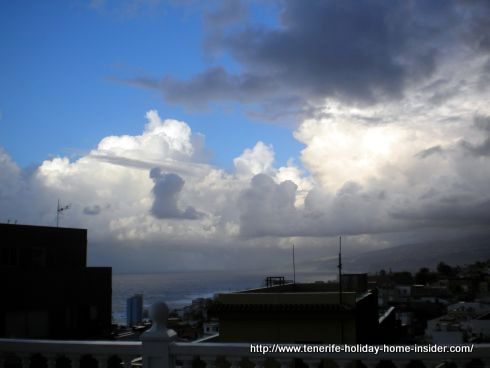 Tenerife North partly cloudy over Punta Brava Puerto Cruz. A stunning mix of blue skies in all shades of clouds.