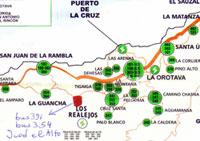 Map with bus routes Titsa to Icod el Alto