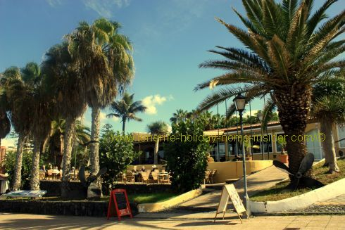 Terraza del mar terrace restaurant on beach Playa Jardin of Puerto de la Cruz in Tenerife Spain.