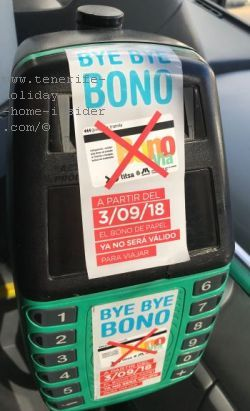 Titsa Bonobus Bye Bye to be read on a poster glued to its machines inside public buses since beginning of September 2018